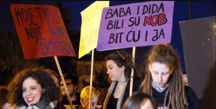 marš žena, nob, partizani, pobačaj
