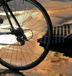 rear wheel bike at dawn