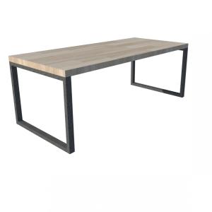 Industrieel stalen O-frame voor houten blad