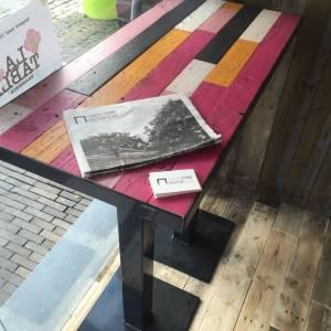 Sta tafel horeca met stalen frame en onderstel 1m lang