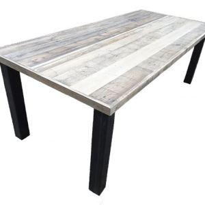 Tafel met sloophout breed tafelblad met losse stalen poten