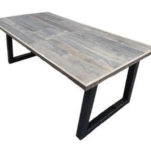 Tafel met eikenhout sloophout blad met stalen trapezium onderstel