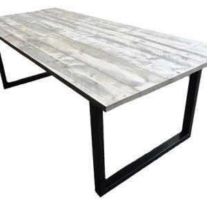 Tafel met steigerhout blad en stalen U onderstel