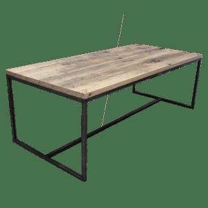 Industrieel stalen O-frame met trekstang voor houten blad