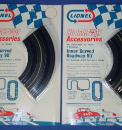 lionel raceway accessories ho slot car track inner curved roadway six inch sections 5407  [ 1200 x 900 Pixel ]
