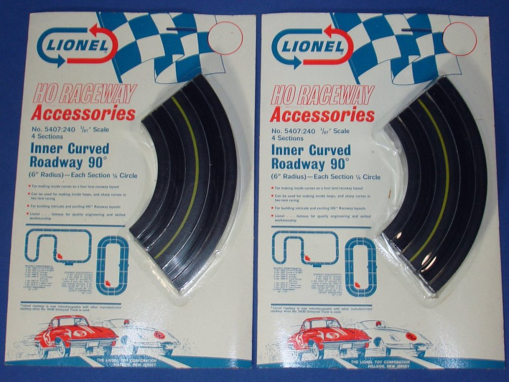 medium resolution of lionel raceway accessories ho slot car track inner curved roadway six inch sections 5407