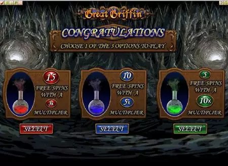 Great Griffin free spins screen