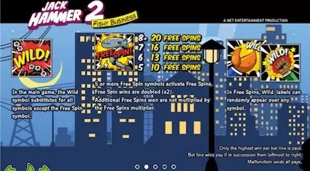 Jack hammer 2 free spins pay screen