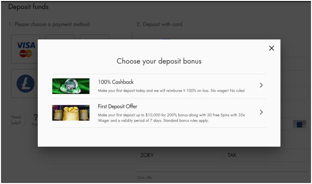 Cashback bonus in USD