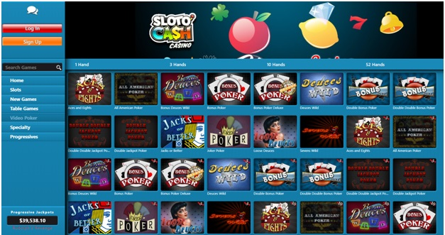 Slotocash casino Table Games