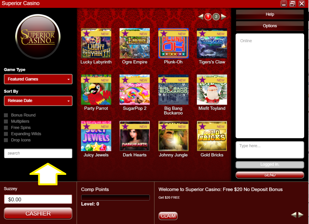 Slot games at Superior Casino