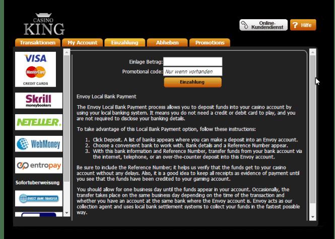 Casino King Einzahlungsmöglichkeiten