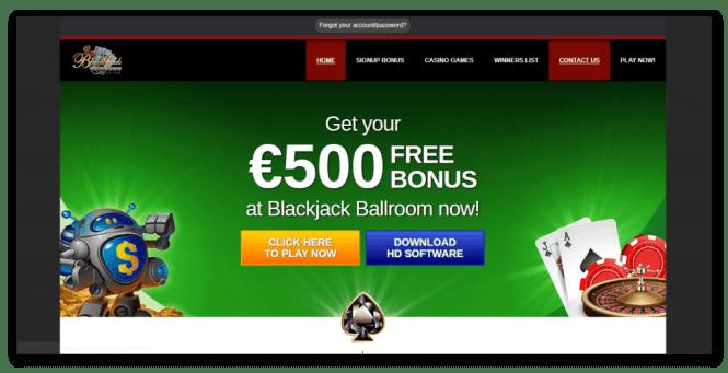 Blackjack Ballroom Casino Homepage Screenshot