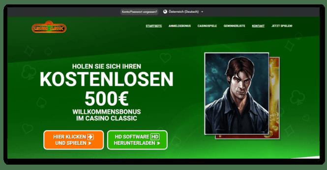 Casino Classic Homepage Screenshot