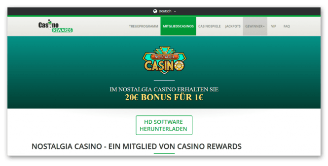 Casino Rewards - Nostalgia Casino Homepage Screenshot