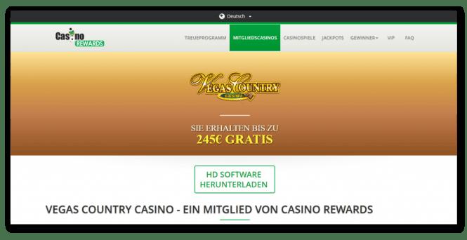 Casino Rewards - Vegas Country Casino Homepage Screenshot