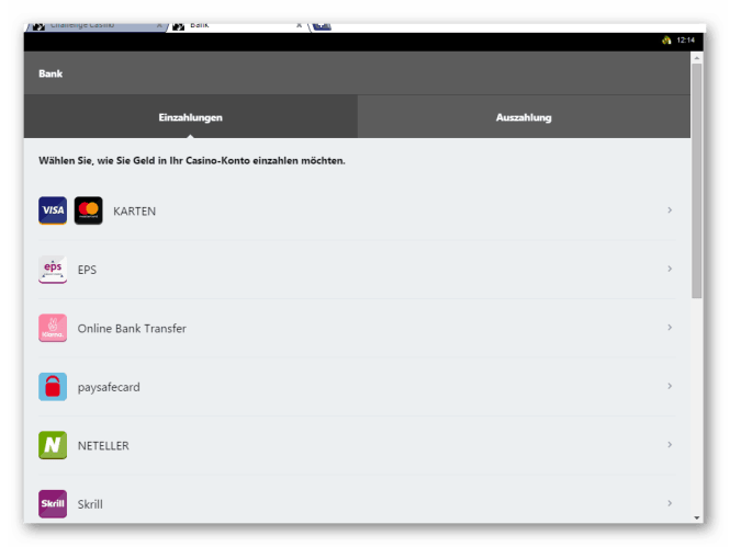 Challenge Casino Kassierer Screenshot