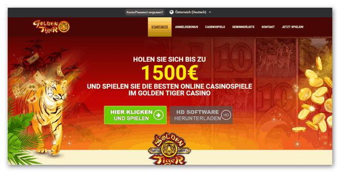 Golden Tiger Casino Homepage Screenshot