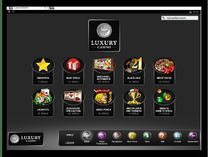Luxury Casino Game Lobby Screenshot