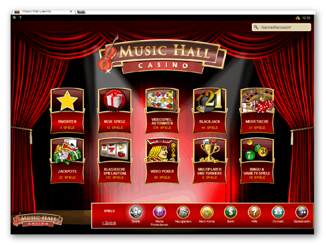 Music Hall Casino Game Lobby Screenshot