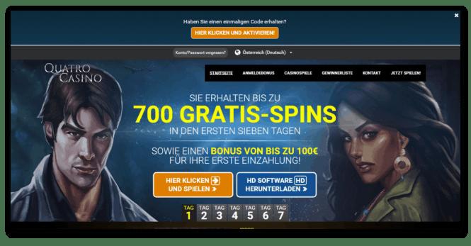 Quatro Casino Homepage Screenshot