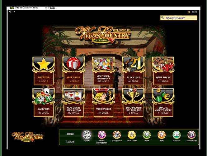Vegas Country Casino Game Lobby Screenshot