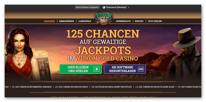 Yukon Gold Casino Homepage Screenshot