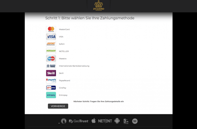 21 Casino Kassierer Screenshot