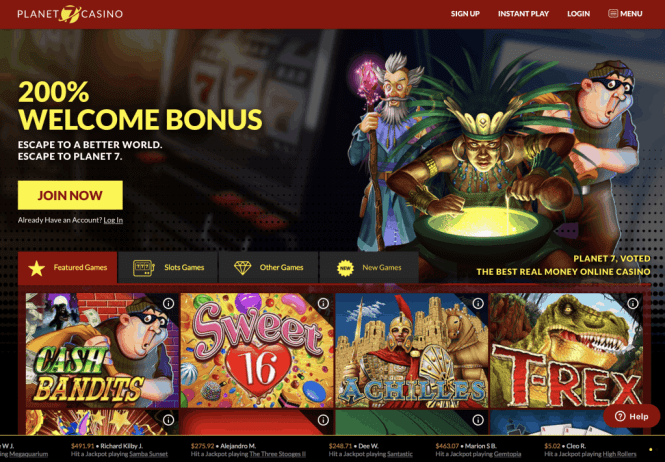 Planet 7 Casino Homepage Screenshot