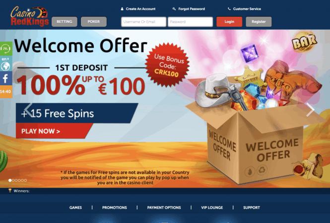 Casino Redkings Homepage Screenshot