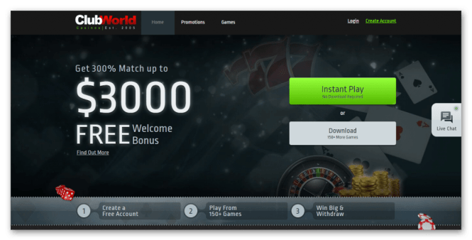 Club World Casino Homepage Screenshot