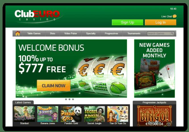 Club Euro Casino Game Lobby Screenshot