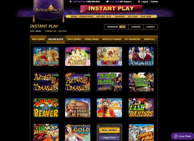 Royal Ace Casino Game Lobby Screenshot