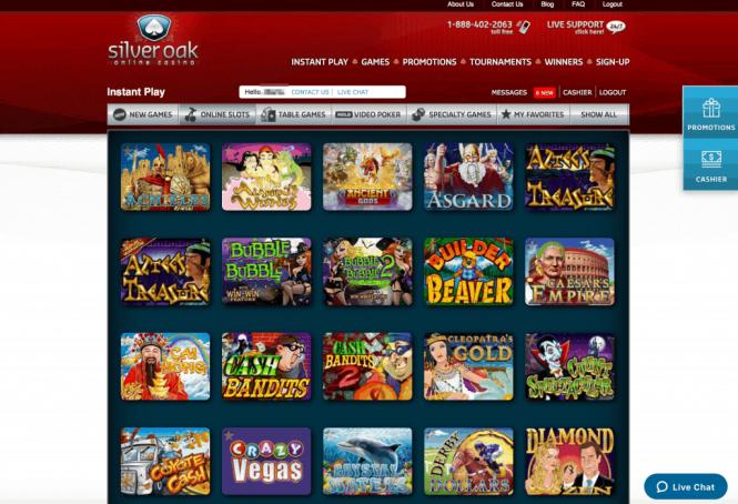 Silver Oak Casino Game Lobby Screenshot