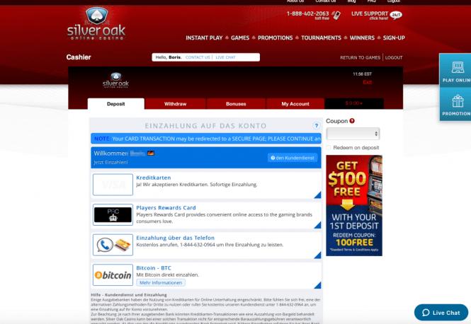 Silver Oak Casino Kassierer Screenshot