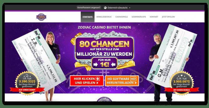 Zodiac Casino Homepage Screenshot