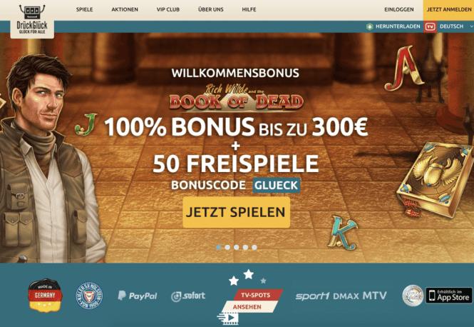 DrückGlück Casino Homepage Screenshot