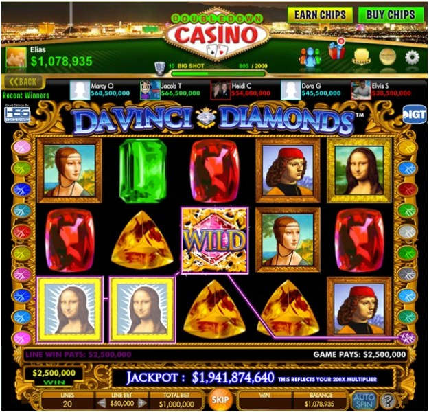 Da vinci Diamonds slot- Bonus and features