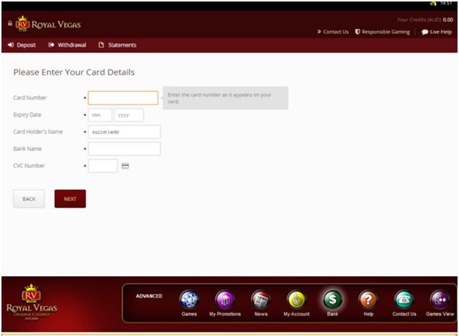 Payment through card