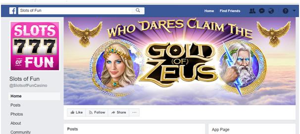 Slots of Fun app Facebook page