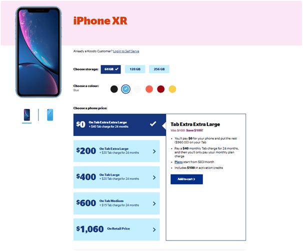 iPhone XR plans on Koodo