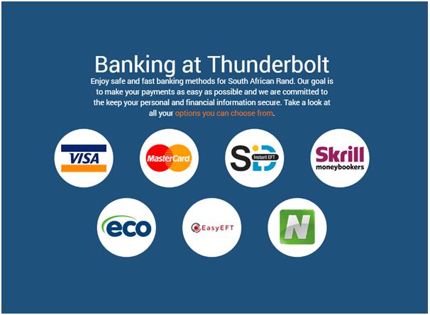Banking at Thunderbolt casino