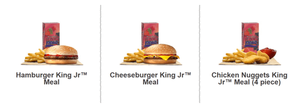 Burger King kids meals offer in South Africa