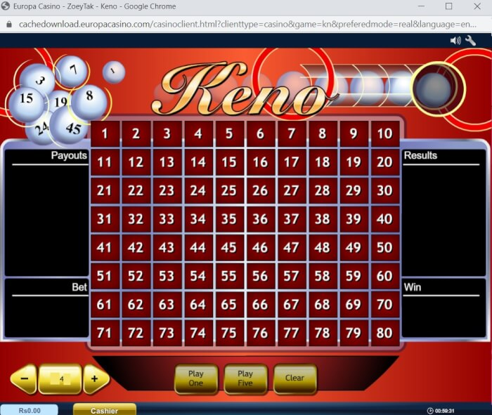 Keno games to play at Europa Casino