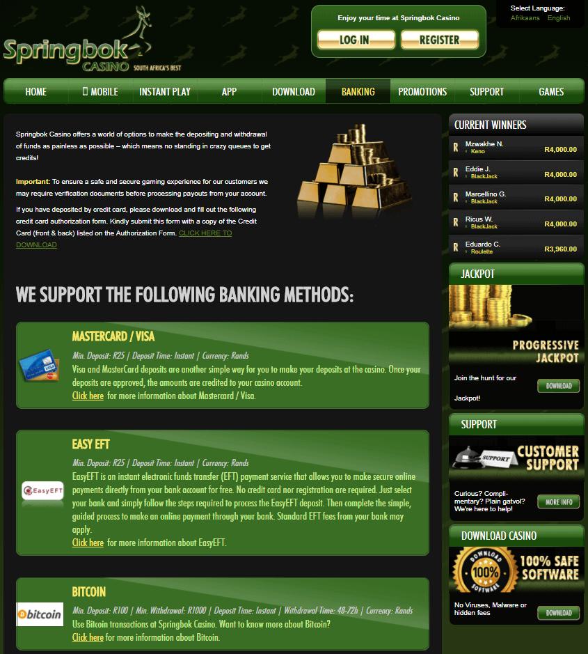 Springbok Casino- Banking