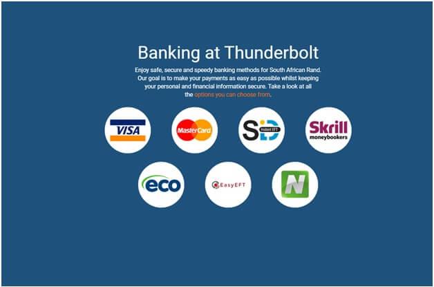 Banking atThunderbolt online casino