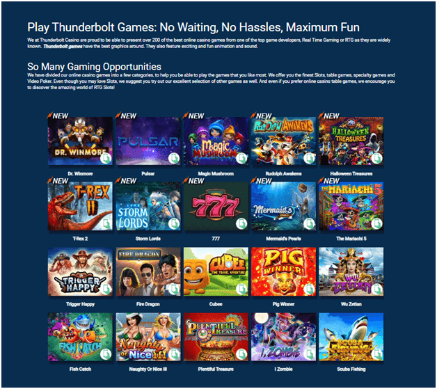 Over 300 casino games at Thunderbolt casino