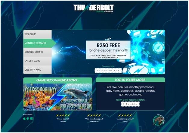 No Deposit bonus at Thunderbolt casino