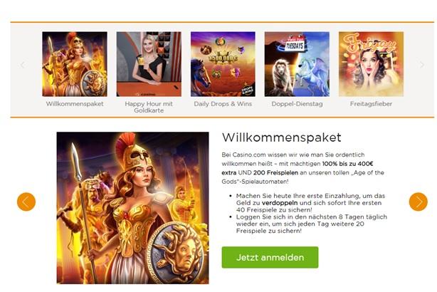 Casino.com bietet einen fantastischen Willkommensbonus und Matcheinzahlungsbonus sowie einen kostenlosen