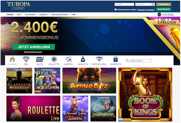Europa Casino für deutsche Spieler, um online Casinospiele zu spielen